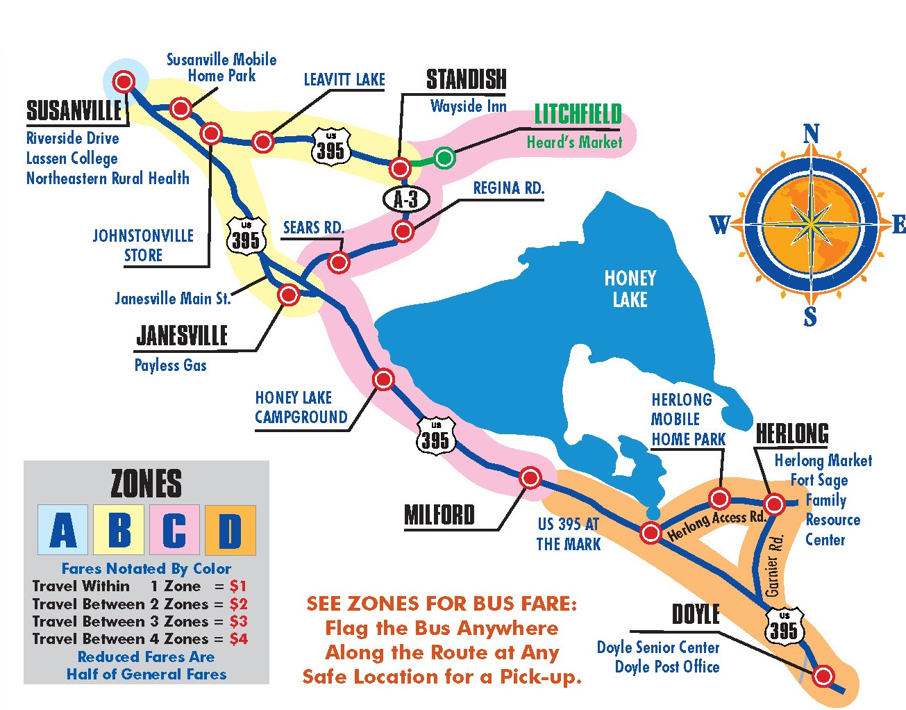 South / East County Route Map