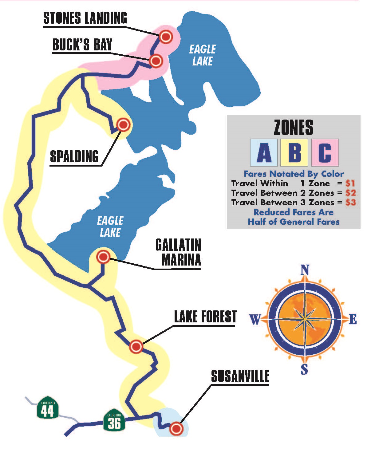 Eagle Lake Route Map